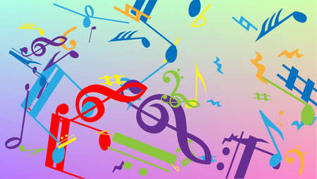Disco Background. Colorful Musical Notes Symbol Falling on Hologram Background. Many Random Falling Notes, Bass and, Treble Clef. Disco Vector Template with Musical Symbols. Stock fotó - 156771936