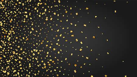 Golden Confetti Falling on Black Backdrop. Festive Pattern. Holiday Decoration Elements on Universal Background. Trendy Modern Luxury Template. Vector Background with Many Golden Confetti.