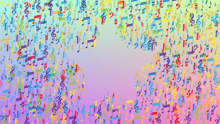 Disco Background. Many Random Falling Notes, Bass and, Treble Clef. Colorful Musical Notes Symbol Falling on Hologram Background. Disco Vector Template with Musical Symbols. 向量圖像