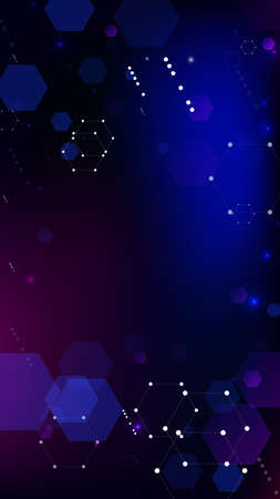 Blockchain Technology Background. Digital Tehnology Backdrop. Futuristic Cyberspace with Hexagon Fractals. Vertical Template BG for Mobile Device. Vector  Technology Blockchain Background. 免版税图像 - 156783587