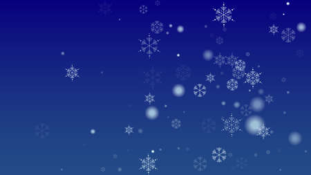Falling Snowflakes on a Blue Background. Element of Design with Snow for a Postcard, Invitation Card, Banner, Flyer.  Vector Snowflakes Christmas Background 免版税图像 - 156783636
