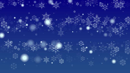 Snowflakes Christmas Background. Element of Design with Snow for a Postcard, Invitation Card, Banner, Flyer.  Vector Falling Snowflakes on a Blue Background 免版税图像 - 156783853