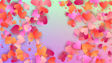 Valentine's Day Background. Many Random Falling Purple Hearts on Hologram Backdrop. Heart Confetti Pattern. Banner Template. Vector Valentine's Day Background. 矢量图像
