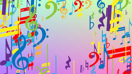 Disco Background. Colorful Musical Notes Symbol Falling on Hologram Background. Many Random Falling Notes, Bass and, G Clef. Disco Vector Template with Musical Symbols. 免版税图像 - 156783870