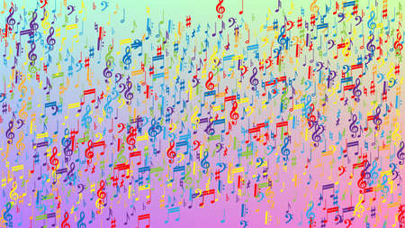 Disco Background. Colorful Musical Notes Symbol Falling on Hologram Background. Many Random Falling Notes, Bass and, G Clef. Disco Vector Template with Musical Symbols. 免版税图像 - 156783881