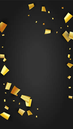 Golden Confetti Falling on Black Backdrop. Trendy Modern Luxury Template. Holiday Decoration Elements on Universal Background. Festive Pattern. Vector Background with Many Golden Confetti.