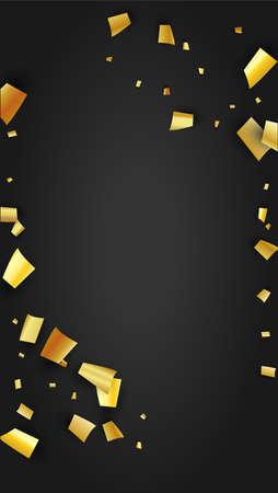 Golden Confetti Falling on Black Backdrop. Trendy Modern Luxury Template. Holiday Decoration Elements on Universal Background. Festive Pattern. Vector Background with Many Golden Confetti. 免版税图像 - 156784049