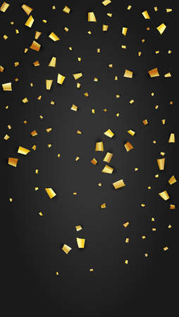 Golden Confetti Falling on Black Backdrop. Holiday Decoration Elements on Universal Background. Festive Pattern. Trendy Modern Luxury Template. Vector Background with Many Golden Confetti.