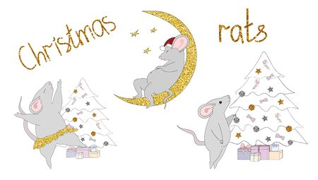Set of New Years rats decorating Christmas tree, dancing, sleeping on the moon, with gold bronze and silver glitter. Inscription Christmas rats. Design for cards. Vector hand drawn illustration.