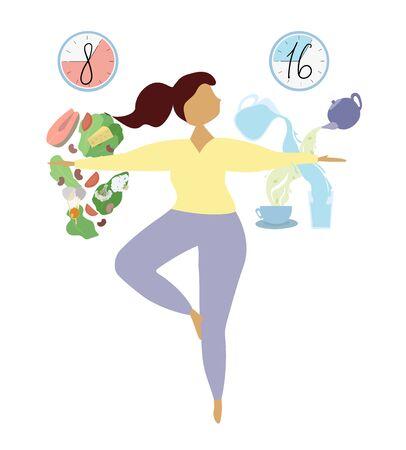 Concepto de ayuno intermitente. Método de adelgazamiento y aceleración del metabolismo. Esquema 8 16, ventana de alimentación de ocho horas. La niña se balancea en la pierna entre la comida, el agua y el té. Vector ilustración plana.