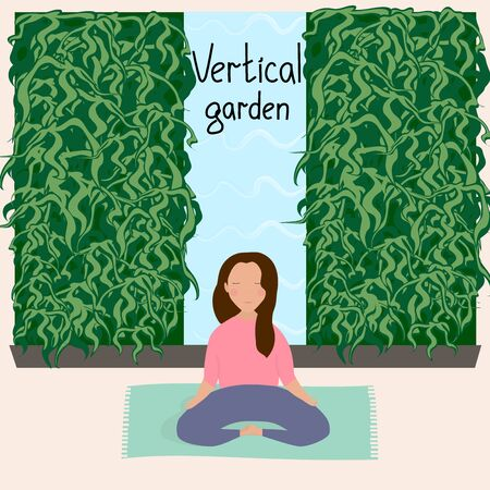 Girl resting and doing yoga in a room with vertical garden. Wall with vertical landscaping. Houseplants. Modern eco design for home and office. Vector hand drawn illustration. Zdjęcie Seryjne - 134294463