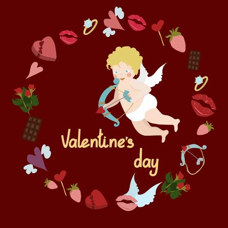 Cute cupid with bow and arrow in a round frame from the symbols of Valentines Day and lettering, on a red background. Design for Valentines Day card. Vector flat illustration.