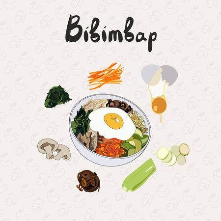 IIllustration for recipe bibimbap. Asian cuisine. Set of ingredients for cooking bibimbap.