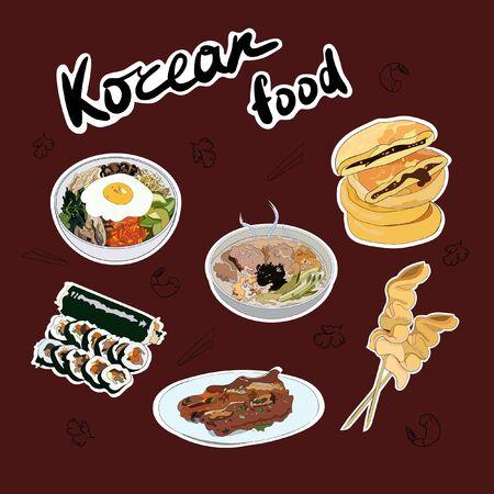 Set of traditional Korean dishes stickers. Bibimbap, guksu, gimbap, oden, galbi-gui, hotteok.