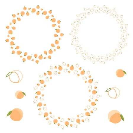 Set of round frames of pink-orange peaches. Seamless brush. A wreath of cartoon cute peaches. Isolated vector illustration. Design for cards, frames for lettering.