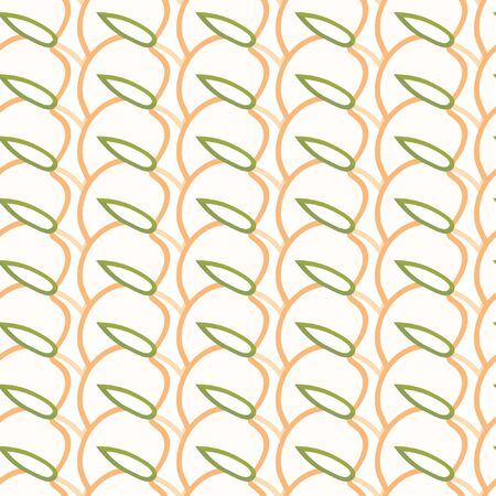 Seamless pattern of pink-orange outline peaches with leaf on a white background.Vector pattern of summer fruits for design fabric, packaging, wrapping paper or tableware. Vettoriali