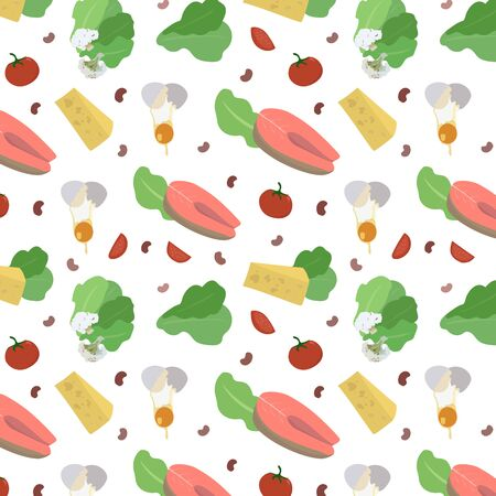 Seamless pattern of healthy food, salad, fish, cauliflower, tomatoes, eggs, cheese, beans on a white background. Healthy eating.