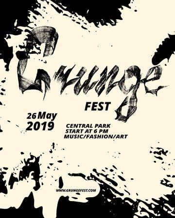 Grunge festival flyer design. Calligraphy flat brush. Grunge texture.