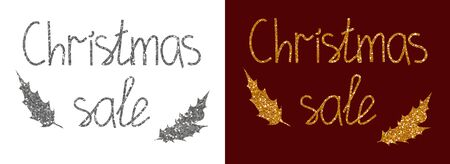 Lettering Christmas sale made of shiny silver and bronze glitter on white and burgundy background with holly leaves. Vector illustration for advertising your business.