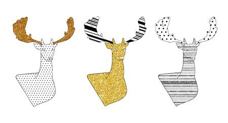 Set of stylized deer with gold, bronze and silver glitter. Elements for Christmas and New Year design. Isolated vector illustration. Archivio Fotografico