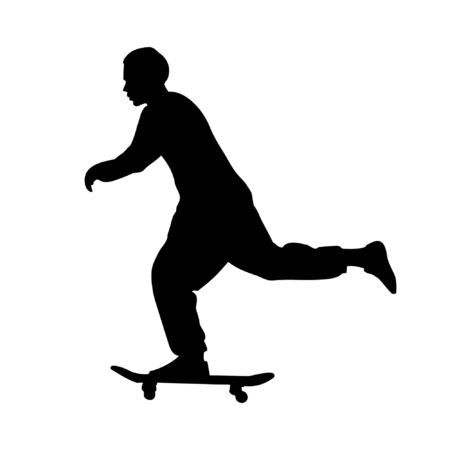 Black silhouette of guy riding a skateboard isolated on white background. Street style, underground. Ilustración de vector