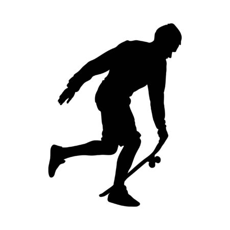 Black silhouette of skateboarder isolated on white background. The guy runs with the board. Skateboarder jumps on the board. Vector skateboarding illustration. Vettoriali