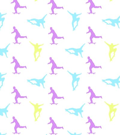 Seamless skateboarding pattern with multi-colored silhouettes of skateboarders. The guy rides a skateboard. Trick ollie. Jump. Children design.