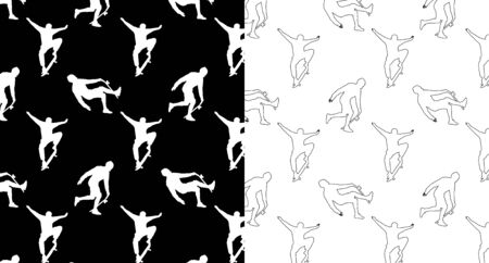 Set of seamless patterns with silhouettes and outline skateboarders on a black and white background. Skateboarding trick ollie, young guy riding a skateboard. Extreme sport vector illustration.