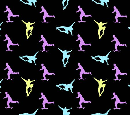 Seamless skateboarding pattern with multi-colored silhouettes of skateboarders on black background. The guy rides a skateboard. Trick ollie. Jump. Children design.