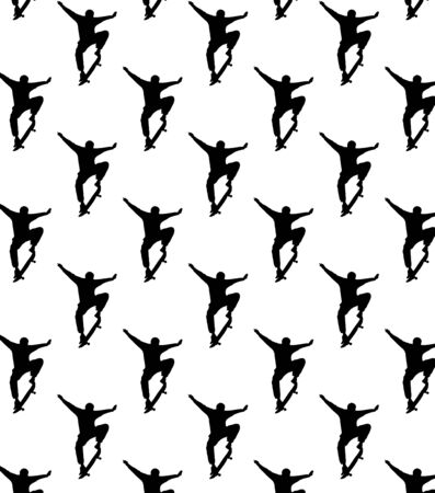 Seamless skateboarding pattern with black silhouettes of skateboarders. The guy rides a skateboard. Trick ollie. Jump. Sport design. Archivio Fotografico