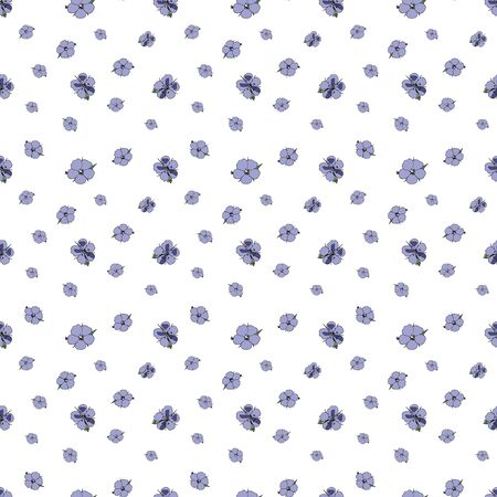 Seamless pattern of small lilac flowers on white background. Geranium pratense. Design for fabric or wallpaper. Vector hand drawn illustration.