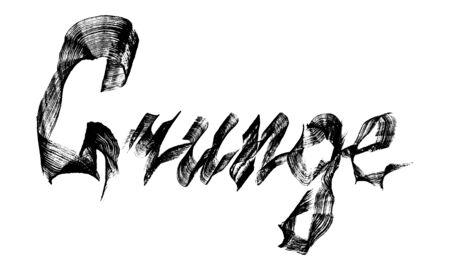 Lettering grunge. Experimental flat brush calligraphy. Brush stroke texture. Vector hand drawn illustration isolated on white background.