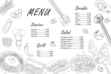 Menu template for Korean cuisine cafe. Asian black outline dishes bibimbap, gimbap, guksu, odeng, galbi-gui on white background. Vector design with hand-drawn graphic illustrations. Vector Illustration