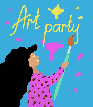 Invitation to an art party. Girl draws with a huge brush. Bright poster or flyer design. Vector flat illustration.