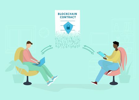 Two guys with a laptop and tablet sign a smart contract. Blockchain technology, electronic documents and digital signatures. Conclusion of online transactions. Vector flat illustration. Vettoriali