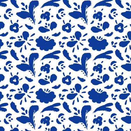 Seamless flower pattern in folk style Gzhel.