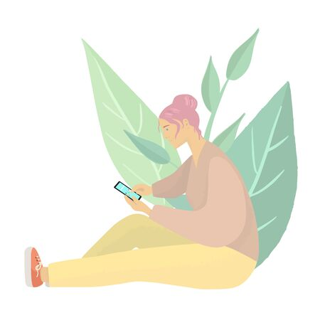 Young girl with pink hair sitting with smartphone.