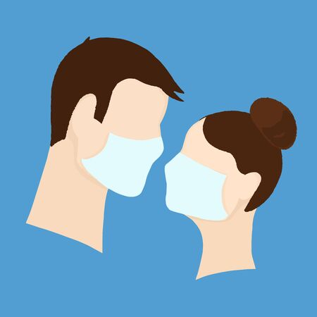 Coronavirus quarantine concept, medical masks. Vettoriali