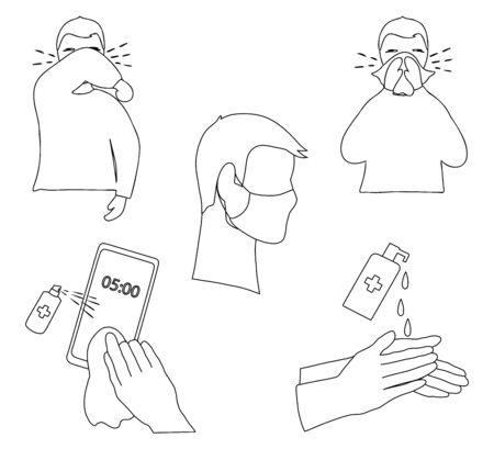 Set of icons of coronavirus prevention measure.