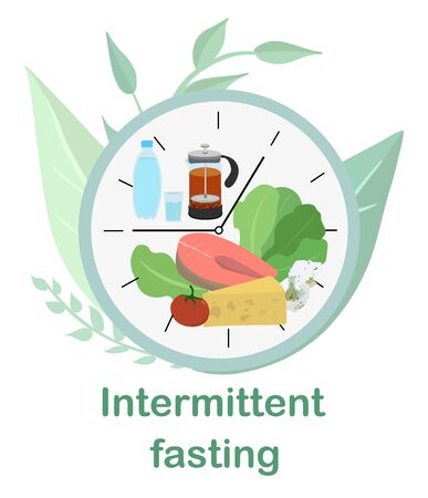 Dial with concept of Intermittent fasting, divided into sectors with healthy food and water and tea. Method of losing weight and accelerating metabolism. Scheme 8 16, food window. Vector illustration.