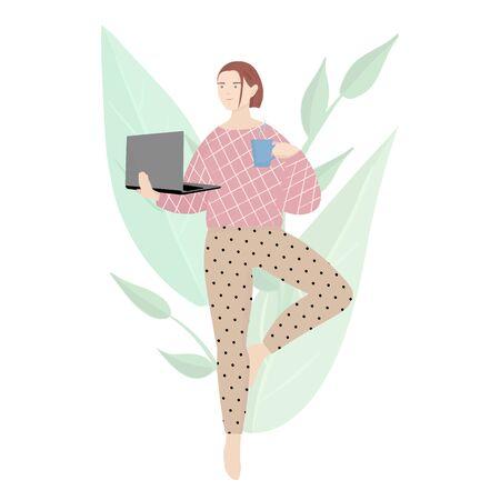 Woman practices quarantine yoga.