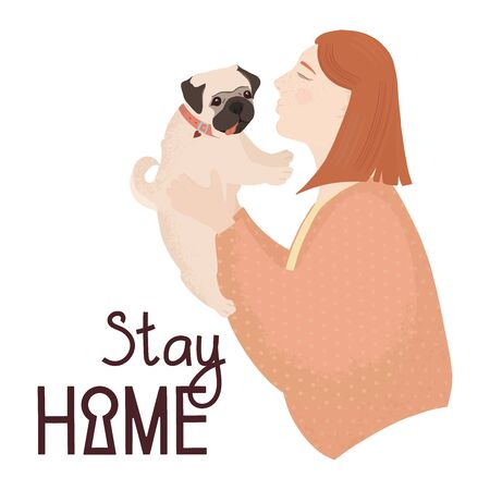 Girl with red hair holds a pug. Funny pug with sticking out tongue. Lettering stay home. Girl kisses dog. Vector flat illustration. Ilustração