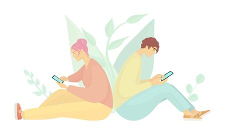 Couple sit back to back and check smartphones.