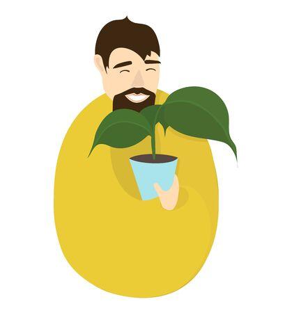Gardener in a yellow jacket.