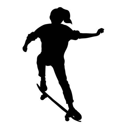 Skateboard girl. Jump on skateboard. Vettoriali