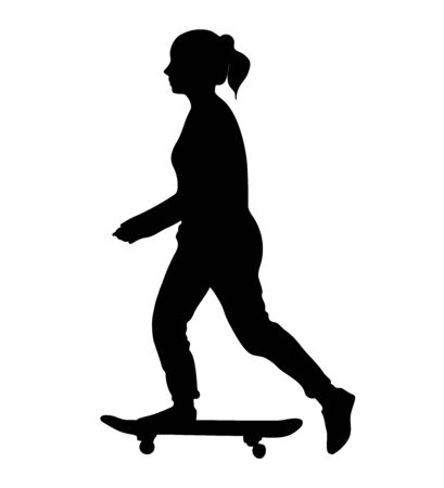 Young girl rides on skateboard and kicks off the ground. Black skateboarder silhouette isolated on white background. Vector illustration. Vettoriali