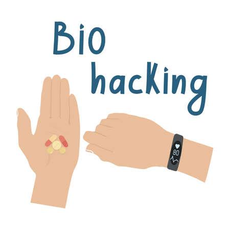 Biohacking concept. Body condition tracker. Vettoriali