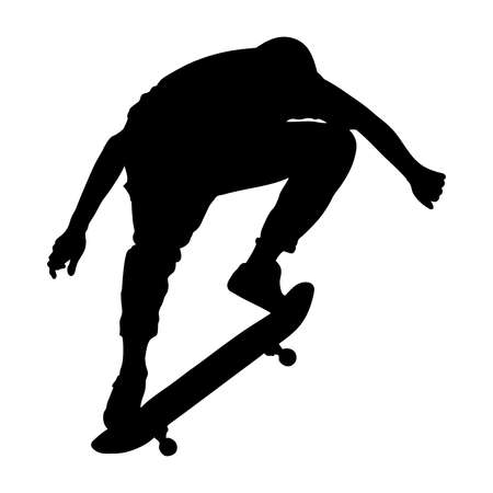 Black silhouette of skateboarder isolated on white background. Guy jumping with skateboard. Skate trick ollie. Extreme sport. Vector illustration