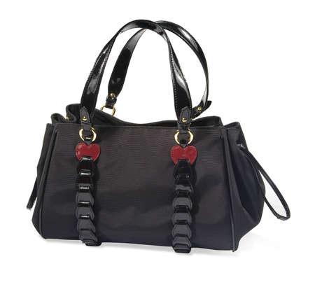 Black women handbag isolated on white background photo