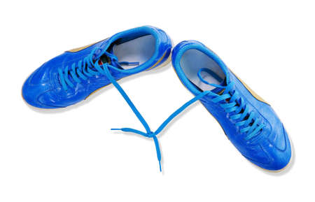 Pair of blue man shoes isolated on white  photo